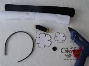 tutorial cerchietto feltro fiore bianco nero 01