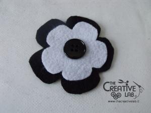 tutorial cerchietto feltro fiore bianco nero 12