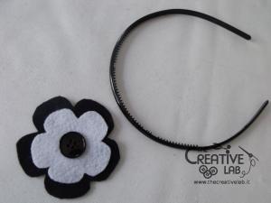 tutorial cerchietto feltro fiore bianco nero 13