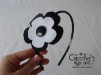 tutorial cerchietto feltro fiore bianco nero 20