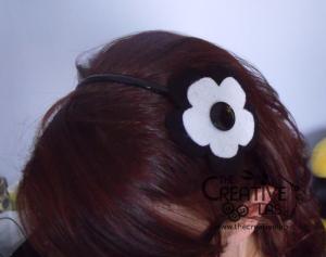 tutorial cerchietto feltro fiore bianco nero 22
