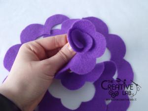 tutorial come fare fiore stoffa feltro 21
