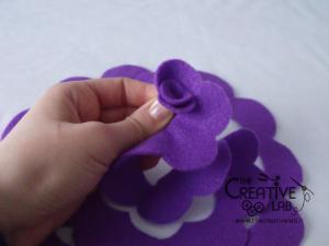 tutorial come fare fiore stoffa feltro 22