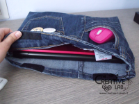 tutorial custodia porta pc laptop fai da te riciclare jeans diy 37