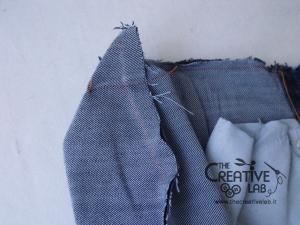 tutorial riciclare jeans fare borsello tracolla fai da te diy 17