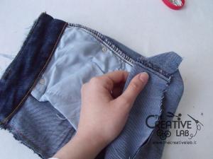 tutorial riciclare jeans fare borsello tracolla fai da te diy 19