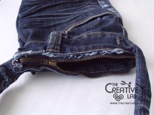 tutorial riciclare jeans fare borsello tracolla fai da te diy 30
