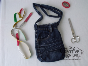 tutorial riciclare jeans fare borsello tracolla fai da te diy 35