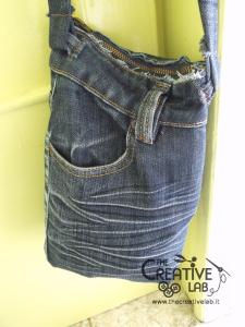 tutorial riciclare jeans fare borsello tracolla fai da te diy 38