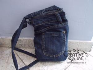 tutorial riciclare jeans fare borsello tracolla fai da te diy 41
