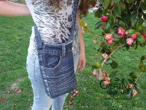 tutorial riciclare jeans fare borsello tracolla fai da te diy 43