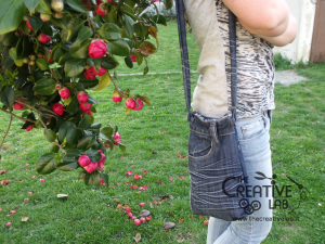 tutorial riciclare jeans fare borsello tracolla fai da te diy 45