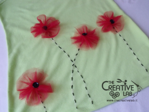 tutorial personalizzare decorare t-shirt maglietta papaveri tulle 15