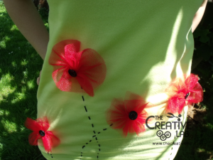 tutorial personalizzare decorare t-shirt maglietta papaveri tulle 20