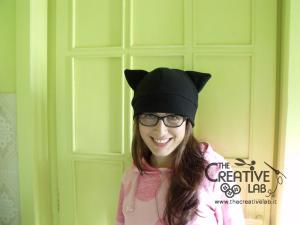 tutorial come fare cappello orecchie gatto fai da te 15