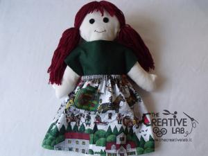 tutorial come fare pigotta vestiti gonna maglia bambola pezza stoffa 16