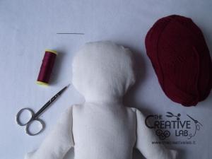 tutorial come fare pigotta viso capelli bambola pezza stoffa 05