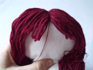 tutorial come fare pigotta viso capelli bambola pezza stoffa 20