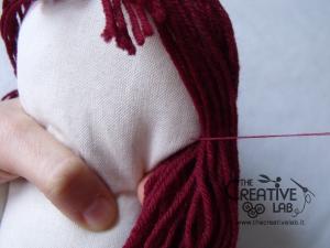 tutorial come fare pigotta viso capelli bambola pezza stoffa 24