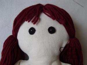 tutorial come fare pigotta viso capelli bambola pezza stoffa 31