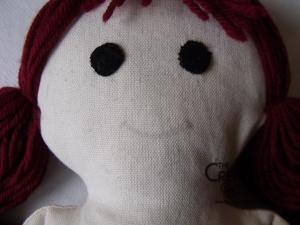 tutorial come fare pigotta viso capelli bambola pezza stoffa 37